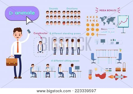 Character constructor for animating. Businessman in blue shirt holding phone and leather briefcase on lilac background. Animation of speech, emotions, turns, standing, sitting. Objects for animation