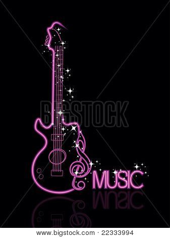 abstract black background with stylish design guitar