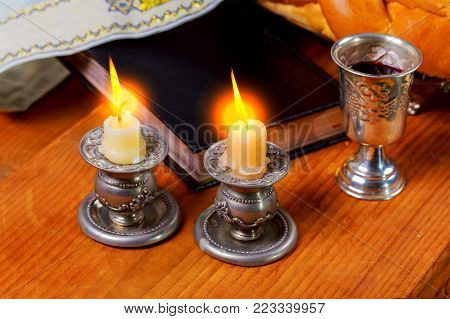 Shabbat Shalom - Traditional Jewish Sabbath matzah, and wine. ritual