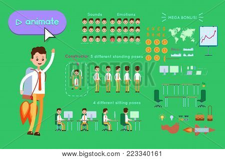 Character constructor for animating. Businessman in blue shirt flies on a rocket pack on green background. Animation of speech, emotions, turns, standing, sitting. Objects for animation