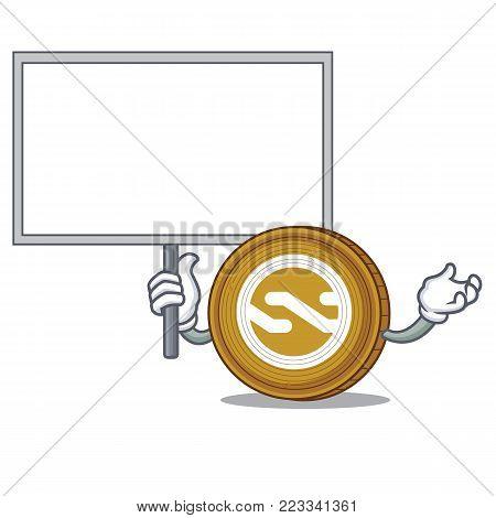 Bring board Nxt coin character cartoon vector illustration