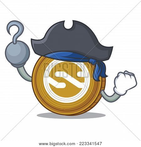 Pirate Nxt coin character cartoon vector illustration