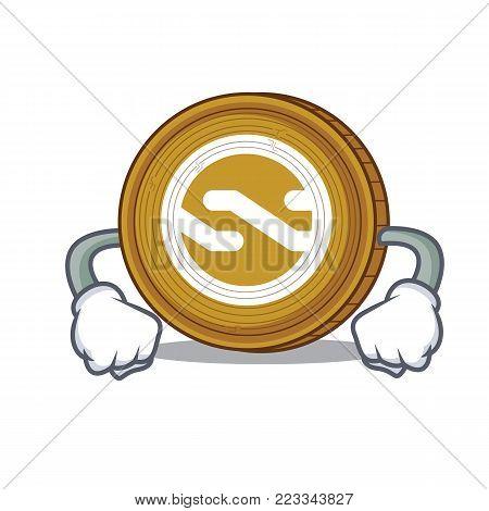 Angry Nxt coin mascot cartoon vector illustration