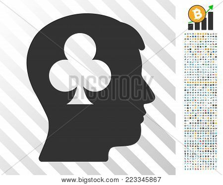 Gambling Addiction Patient icon with 7 hundred bonus bitcoin mining and blockchain symbols. Vector illustration style is flat iconic symbols designed for crypto-currency software.