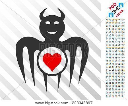 Gambling Happy Devil icon with 700 bonus bitcoin mining and blockchain symbols. Vector illustration style is flat iconic symbols designed for blockchain apps.