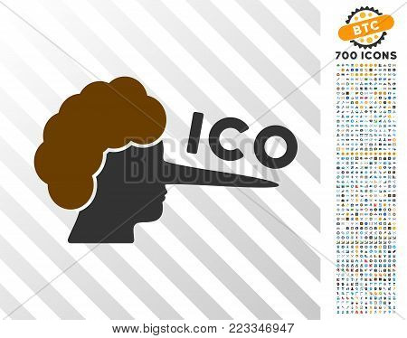 Ico Lier pictograph with 700 bonus bitcoin mining and blockchain design elements. Vector illustration style is flat iconic symbols designed for cryptocurrency websites.