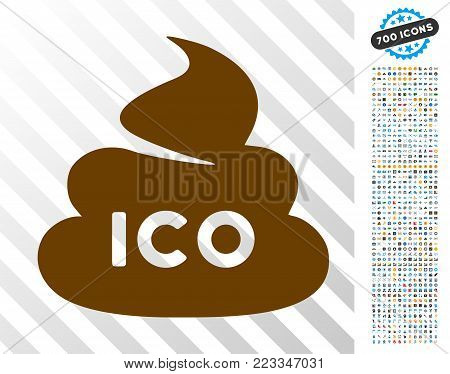 Ico Shit icon with 7 hundred bonus bitcoin mining and blockchain graphic icons. Vector illustration style is flat iconic symbols designed for cryptocurrency apps.
