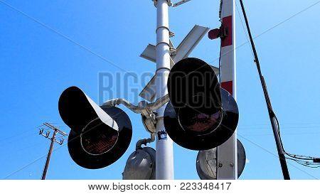 Train Rail Road Crossing Warning Sign Train Tracks