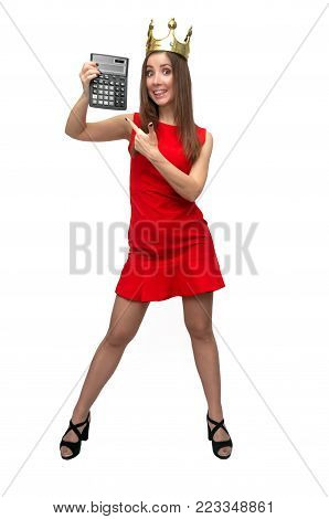 Big total sale. Discount final price. Lucky winner girl. Sexy accountant woman in red dress and gold crown above her head shows a tax calculator.