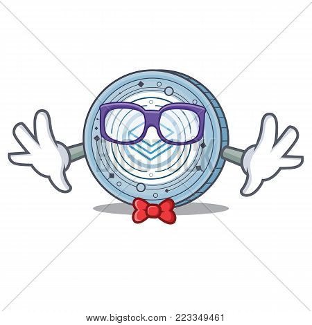 Geek Stratic coin character cartoon vector illustration