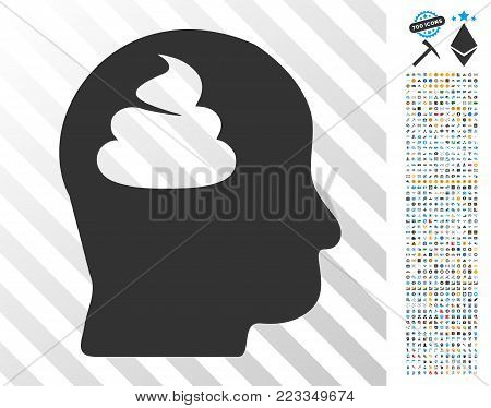 Shit Brain pictograph with 7 hundred bonus bitcoin mining and blockchain design elements. Vector illustration style is flat iconic symbols designed for bitcoin software.