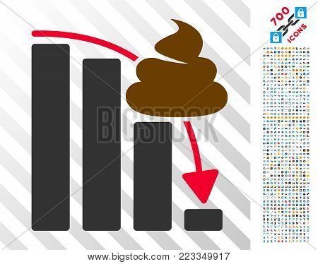 Shit Fall Down Chart pictograph with 700 bonus bitcoin mining and blockchain symbols. Vector illustration style is flat iconic symbols designed for bitcoin software.