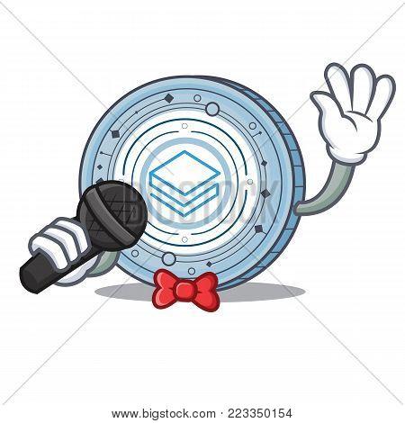 Singing Stratic coin mascot cartoon vector illustration