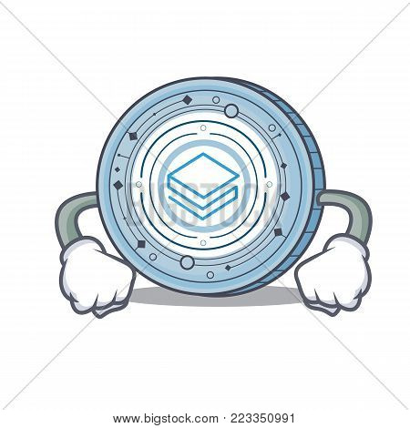 Angry Stratic coin mascot cartoon vector illustration