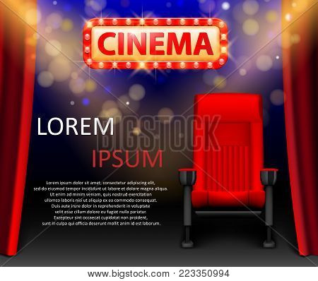 Realistic cinema hall interior with red seats. Retro style cinema sign with spot light frame. Movie premiere poster design. Vector illustration.