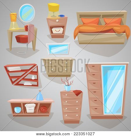 Furniture in bedroom vector furnishings design of bed with bedding or bedclothes in furnished bedside interior of apartment and to furnish decorate room set illustration isolated on background.