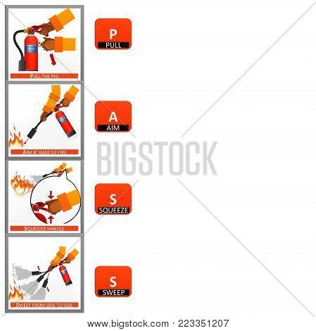Fire extinguisher instruction labels set. Instruction extinguisher and protection of fire with extinguisher illustration