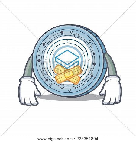 Silent Stratic coin mascot cartoon vector illustration