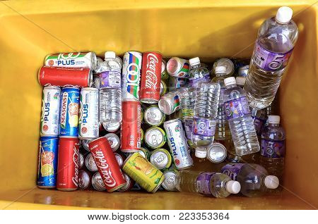 Labuan,Malaysia-Jan 18,2018:Local market stall selling packaged food and drink,including soft beverages and mineral water at vendors cart in Labuan,Malaysia.
