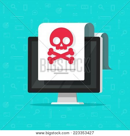 Alert notification on computer document vector flat cartoon design, malware concept, spam data doc, fraud internet error on desktop pc, insecure connection, online scam, virus attack