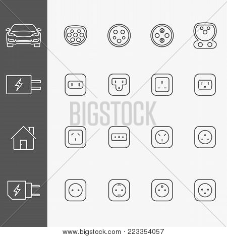 Electric outlet line icons set. Electric car chaging outlet, phone charging and household sockets of different countries