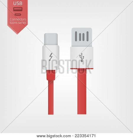 USB and USB type-C modern interfaces. Gray and red cables on isolated background. Connectors wires in flat style.