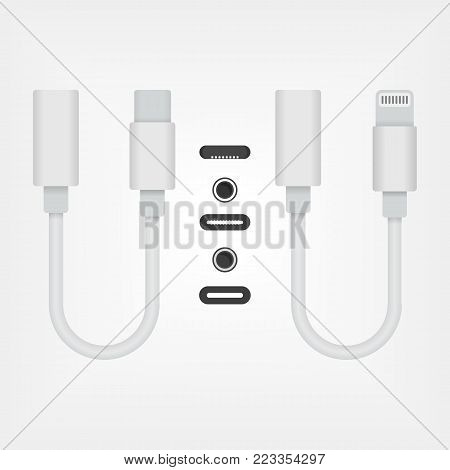 USB Type-C and lightning to 3.5 mm Audio Aux Jack Adapters. Colored illustration with socket outlets and connectors plug
