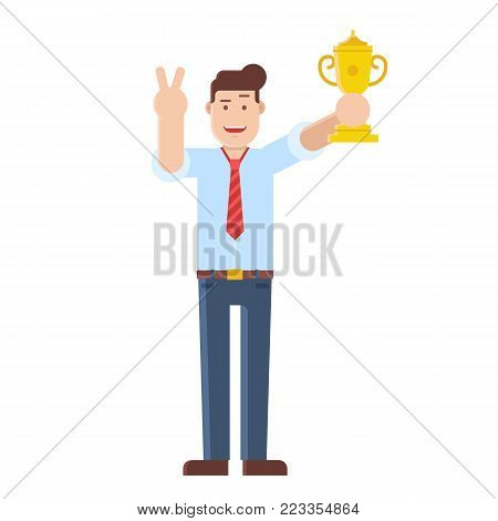 Leading manager or businessman with prize cup. Happy office man holding trophy and showing victory sign. Achievement, award and first place character. Top worker successful professional illustration.