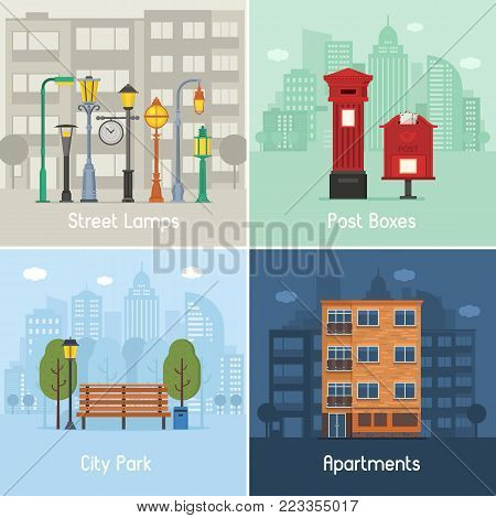Modern city places and spots set with urban infrastructure scenes and concepts in flat design. Street illumination, post boxes, city park area and apartment building residential district.