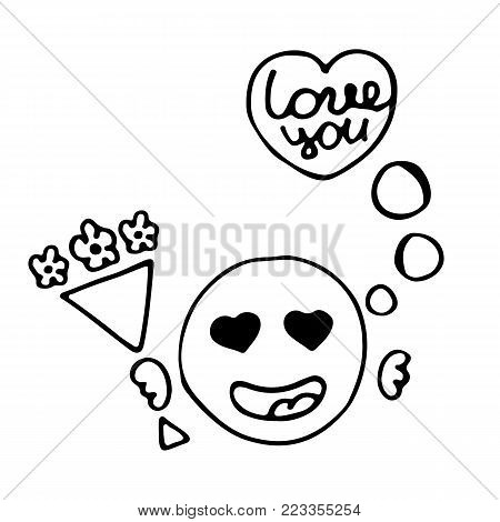 Cute bridegroom with flowers and heart emoticon say love you. Emoji, smiley - vector