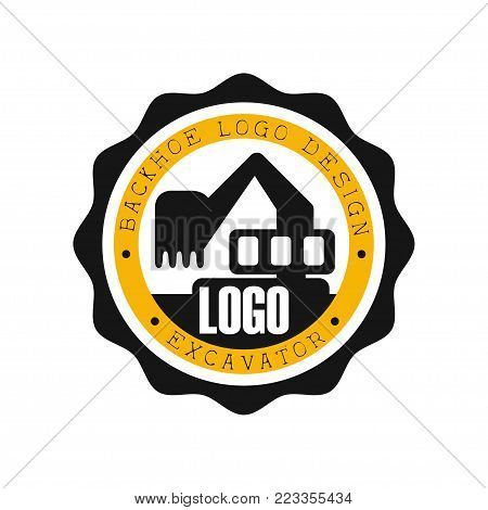 Backhoe logo design, excavator equipment service round yellow and black label vector Illustration on a white background