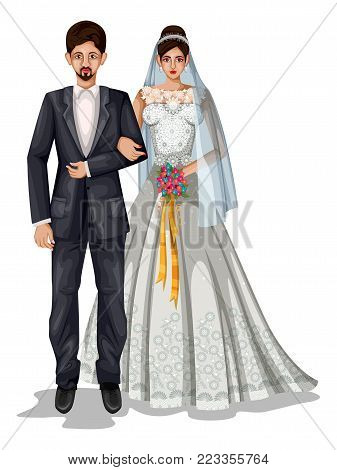 71ae292b1d easy to edit vector illustration of Goan wedding couple in traditional  costume of Goa, India