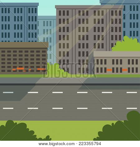 City street with road and city buildings, modern cityscape, urban background vector illustration, flat style