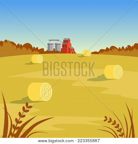Farm rural landscape with hay, beautiful autumn background vector illustration, flat style
