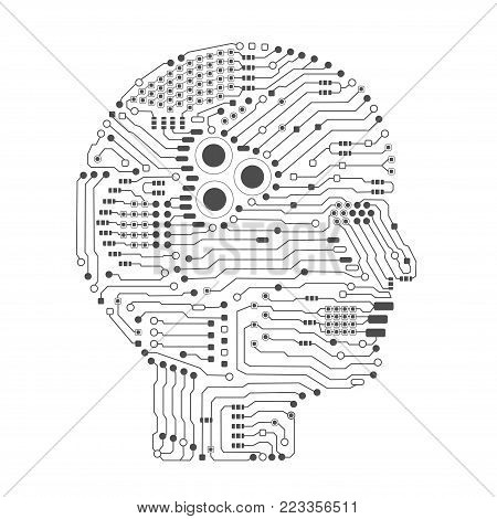 artificial intelligence brain or circuit board in head shape side view vector illustration