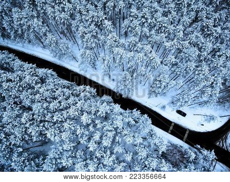 Aerial top view flat lay of road in winter forest