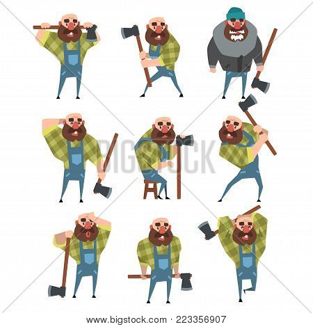 Set of funny bald lumberjack in different poses. Cartoon character of bearded man with axe. Woodcutter in blue coveralls, green hipster plaid shirt, warm jacket, hat. Isolated flat vector illustration