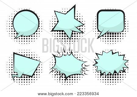 Set of blue empty retro comic speech bubbles with flat blue and black halftone shadow in pop art style. Black outline message balloons for comics book or advertising text, web and banner design