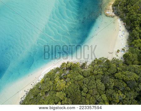 Aerial photographs of the Tallebudgera Creek inlet with Burleigh Heads to the right of frame. Gold Coast, Queensland, Australia.