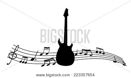 Black silhouette of the guitar and music notes. Stave with the melody. Vector illustration.