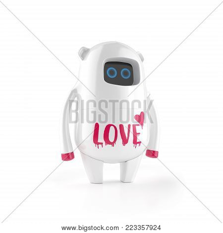 black cute plastic robot with emo sign