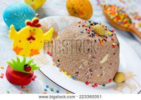 Easter chocolate quark dessert paskha on Easter festive table