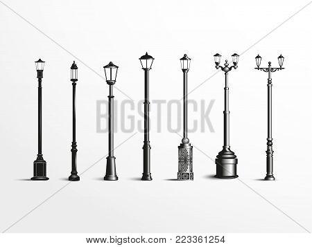 Street light poles. Set. Vector illustration. Black and white vector illustration on a light background.