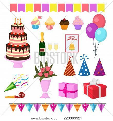 Birthday party vector anniversary cartoon kids happy birth cake or cupcake celebration with gifts and birthday balloons for children or adults set illustration isolated on white background.