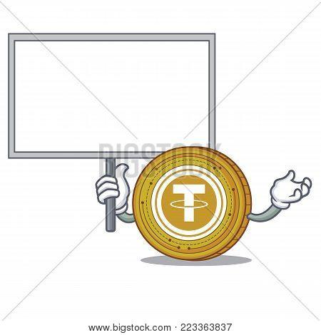 Bring board Tether coin character cartoon vector illustration