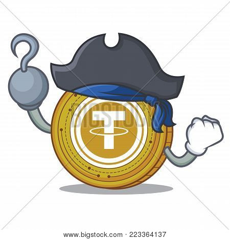 Pirate Tether coin character cartoon vector illustration