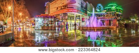 SOCHI, RUSSIA - JANUARY 11, 2018: Singing fountain in the rain