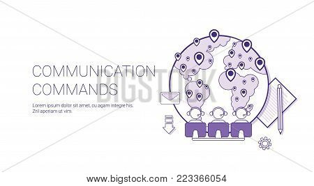 Communication Commands Global Network Technology Concept Banner With Copy Space Thin Line Vector Illustration