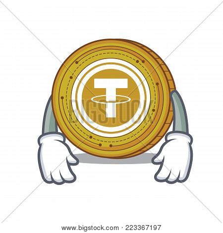 Tired Tether coin mascot cartoon vector illustration