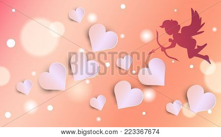 Cute Cupid Silhouette Over Glowing Valentines Day Background With Heart Shapes Vector Illustration